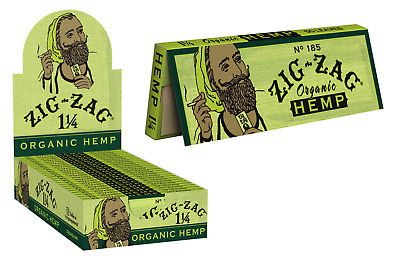 Zig-Zag Green Organic 1 1/4 1.25 - 6 PACKS -  Cigarette Rolling Papers FAST