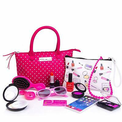 PixieCrush Deluxe Pink Pretend Play Kid Purse Set for Girls with Handbag