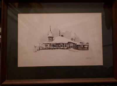 Vintage Craigleith Train Depot Signed Watercolor Painting Ontario Heritage Site