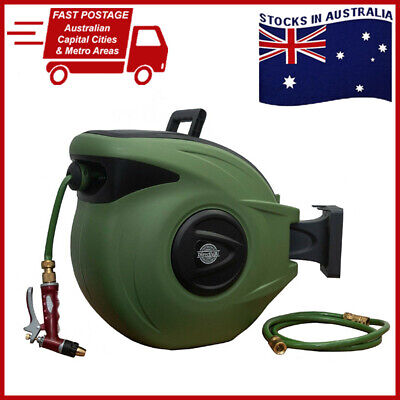 30M Retractable Water Garden Hose Reel - UV Resistant AND Premium Brass Fittings