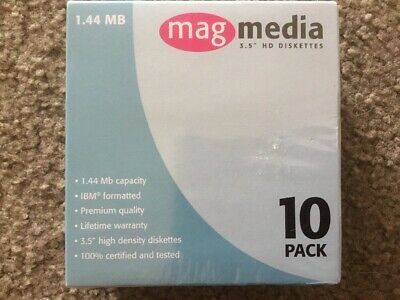 """Mag Media 3.5"""" HD Diskette 1.44MB 10 Pack New Sealed Box"""