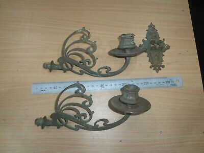 Pair Of Art Nouveau Swivel Wall Mounted Candle Holders With Bracket