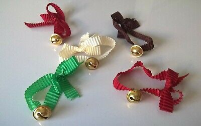 Five 10mm Bells Gold Craft Bell with Ribbon Easter Bunny