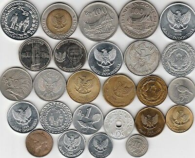 26 different world coins from INDONESIA