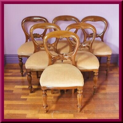 6 x Victorian style Mahogany Balloon Back Carved Dining Chairs ◆ Antique style