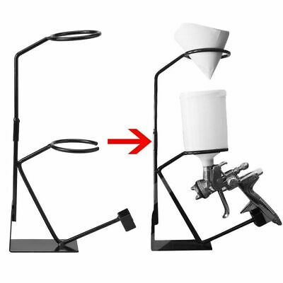 Gravity Feed Paint Spray Gun Holder Sprayer Stand with Strainer Wall Bench Mount