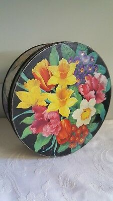 Vintage Peak And Freans Round Biscuit Tin Floral Design