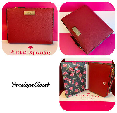 official photos aaf8f 6ea4b NWT KATE SPADE Leather Laurel Way Hazy Rosse Mall Shawn Card Case Wallet In  Red