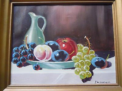 Oil Painting on Canvas. Still Life Fruit Bowl Grapes Water Jug. Signed Sarchen ?