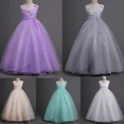 Flower Girl Kids Princess Tulle Layers Wedding Bridesmaid Formal Long Maxi Dress