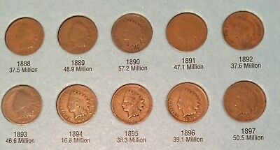 1865 1880-1884 1886-1894 1895-1909 (30) Different Indian Head Cents Fast Shippin