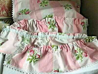 "Vintage French Fabric Valance Pink Floral Pelmet Panel French Decor 76"" x 7.5"""