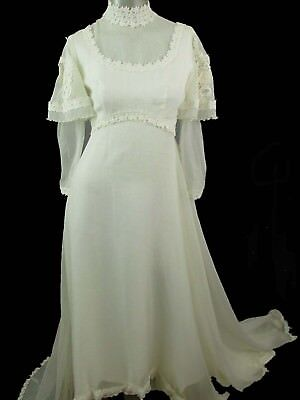 Vtg 1950s Wedding Dress Gown Modest Long Sleeve Train Flower Appliques Pleating