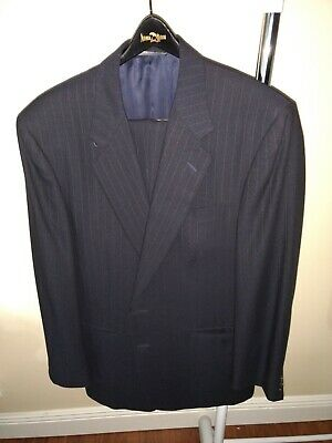 CANALI Made in Italy for Bloomies S120s Navy Blue Subtle Banker Stripe Suit 52