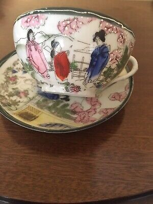 Fine Bone China Geisha Teacup And Saucer
