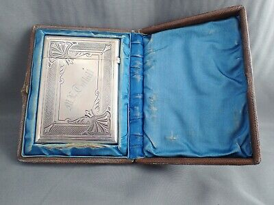 Antique 19Th C Whiting Sterling Silver Calling Card Holder In Presentation Case