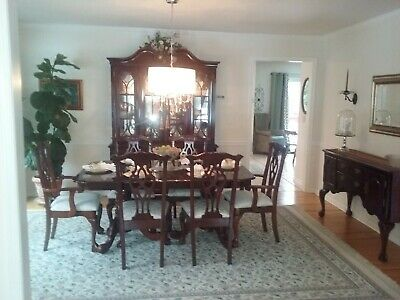 Complete Formal Dining Room Set Table 2 Leaves 8 Chairs China Cabinet