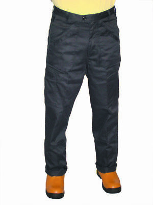 "Black Polycotton Action Trousers Workwear Trousers-32"" Leg-knee pad pockets"