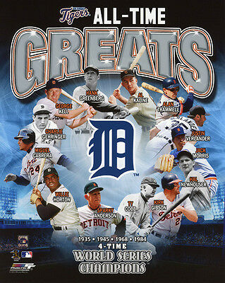 DETROIT TIGERS ALL-TIME Team Poster Signed Lithograph With 8