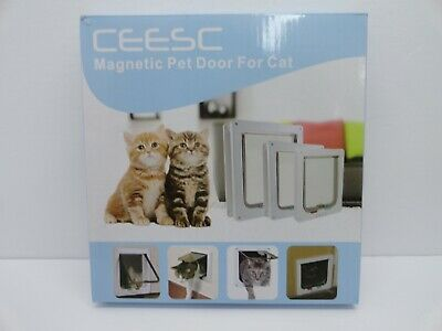 CEESC Magnetic Pet Door Flap For Cats Kittens 4 Way Lock Size Small