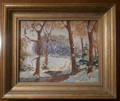 20th CENTURY CANADIAN SCHOOL OIL PAINTING SIGNED WINTER SCENE FOREST LANDSCAPE