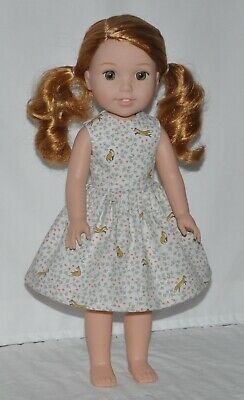White Fox N Floral Doll Dress Clothes Fits American Girl Wellie Wisher Dolls