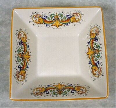 Ceramica Nova Deruta Raffaellesco Square Italian Pottery Display Serving Bowl
