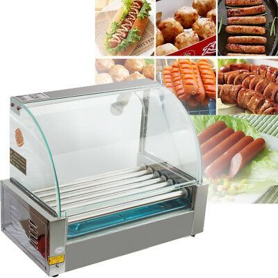 US-Commercial 18 Hot Dog Hotdog 7 Roller Grill Cooker Machine With Cover 1050W A