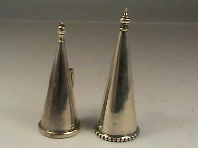 Pair of Antique Silver Candle Snuffer Cone Shaped Extinguisher Witches Cap