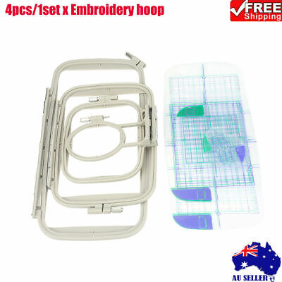 4PCS Embroidery Hoop Set for Brother Sewing Machines PE700 PE750D 780D PE770 AU