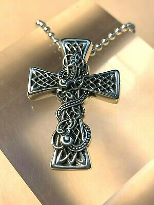 4cb845473b7c Chrome Hearts Celtic Dragon Cross Pendant Necklace. Sterling Silver 925
