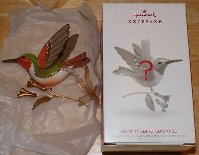 Hallmark Hummingbird Surprise Ornament 2018 Gold Golden Opened Inspected Repaint