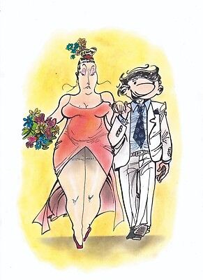 Pin Up Art Original Married Drawing In Colour  Cartoon Pop Occasional Gift Card