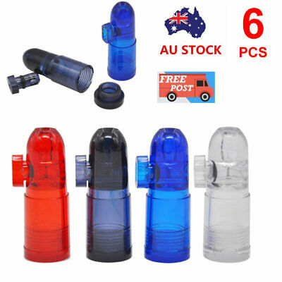6x Acrylic Plastic Snuff Bullet Snuffer Dispenser Glass Vial Rocket Snorter Tube