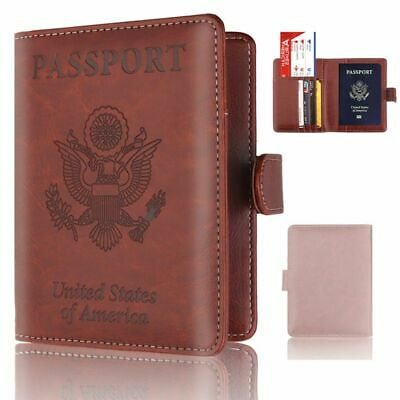 Travel RFID Blocking PU Leather Passport Holder ID Case Credit Card Wallet US