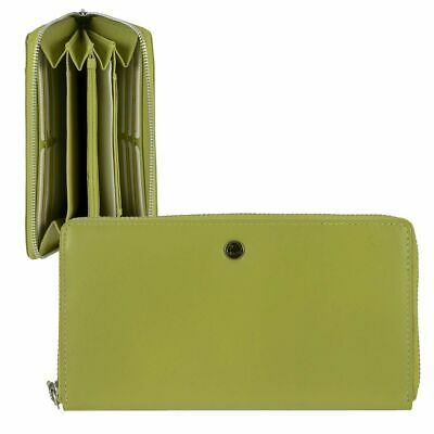 Leather Purse Ladies Wallet Ladies Wallet Long Green Greenburry Spongy Nappa