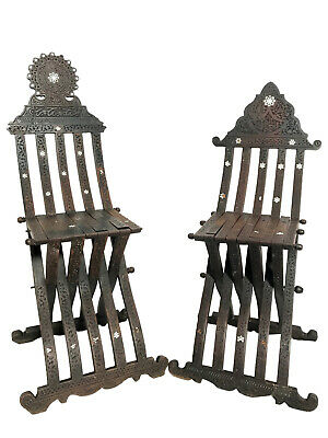 Pair of Early 20th Century His & Hers Syrian Savonarola Chairs