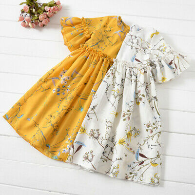 Toddler Baby Kid Girls Ruched Floral Skirt Princess Dresses Casual Clothes Dress