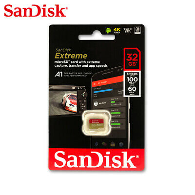 Sandisk 32GB Extreme microSD SDHC Card 100MB/s V30 UHS-I U3 Adapter included