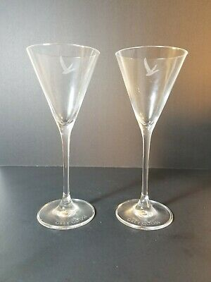 (2) Grey Goose Martini Glasses for Vodka or Gin Cocktails ~ Clear Glass w/Logo