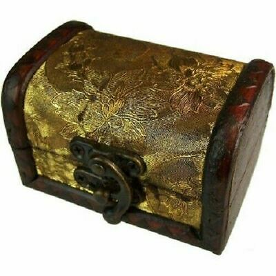 Rustic Wooden Colonial Style Trunk Treasure Chest Vintage Postcard Storage Box M