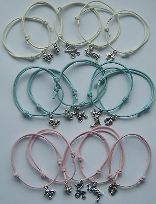 x5 BABY SHOWER PARTY GIFTS PRIZES CHARM BRACELETS MUM TO BE GENDER REVEAL FAVORS