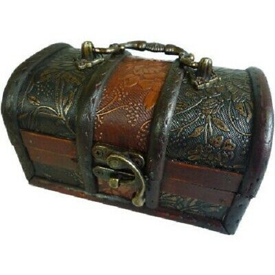 Rustic Wooden Colonial Style Trunk Treasure Chest Vintage Storage Box Gold Panel