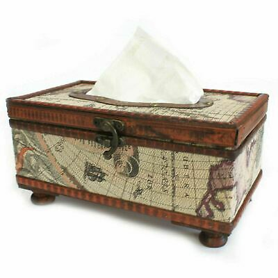 Wooden Hand Crafted Old Map Glamour Tissue Box Colonial Retro Antique Style Box