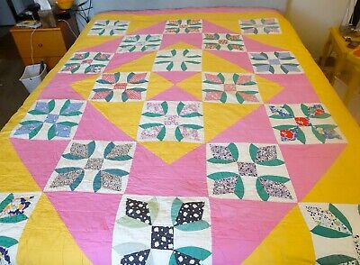 Vintage Hand Quilted  Popular Bubble Gum And Cheddar Color Scheme  Tulip Block