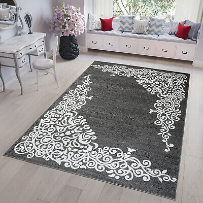 Dark Grey & White Modern TAPISO Rug Floral Rugs Small and Large Soft Floor Mat
