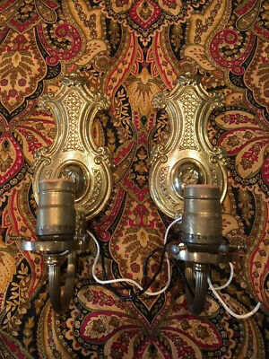 Pair Vintage Antique Cast Brass Electric Wall Sconces