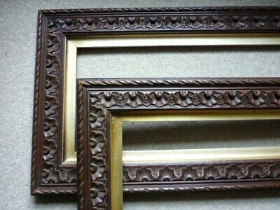 2 x Antique, vintage Arts & Crafts carved wood oak? picture frames + slip mounts
