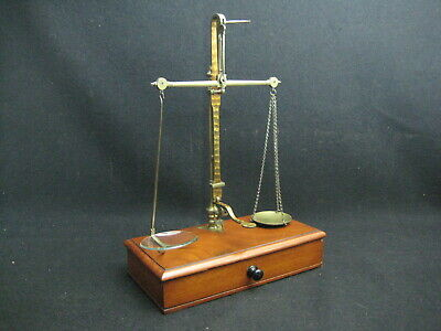 Antique Victorian Mahogany and Brass Traveling Apothecary Scales by W&T Avery