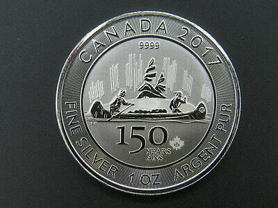 2017 1 oz Fine Silver Maple Leaf Coin $5 CANADA Voyageur 150 Years Ans 9999 fine